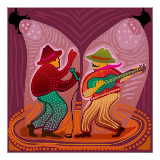 cheerful music band performing on stage poster