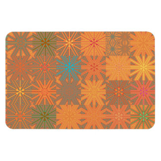 Cheerful Orange Abstract Starburst Mosaic Flexible Magnet