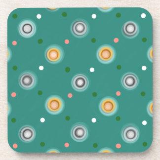 Cheerful Orange and Teal Green Polka Dotted Beverage Coaster