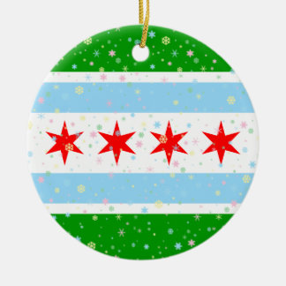 Cheerful Pastel Snowflakes and Flag of Chicago Double-Sided Ceramic Round Christmas Ornament