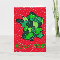 Cheerful Pastel Snowflakes and Map of France Holiday Card