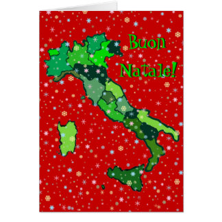 Cheerful Pastel Snowflakes and Map of Italy Card