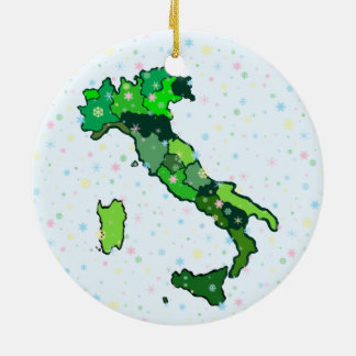 Cheerful Pastel Snowflakes and Map of Italy Double-Sided Ceramic Round Christmas Ornament