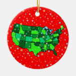 Cheerful Pastel Snowflakes and United States Map Double-Sided Ceramic Round Christmas Ornament