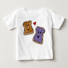 Cheerful Peanut Butter and Jelly Cartoon Friends Baby T-Shirt