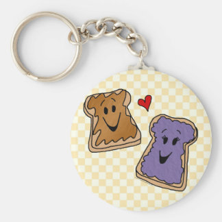 Cheerful Peanut Butter and Jelly Cartoon Friends Basic Round Button Keychain