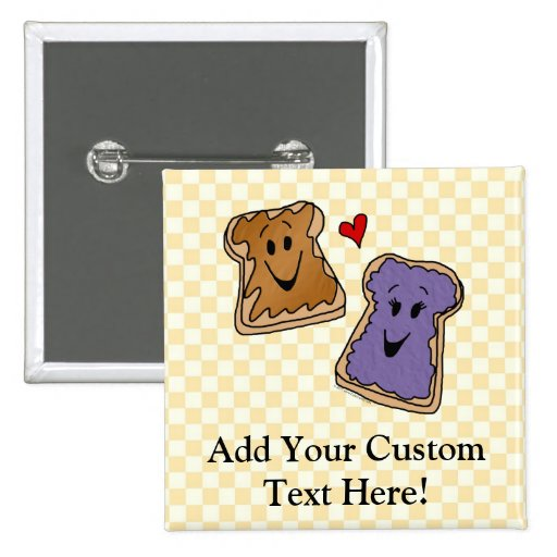 Cheerful Peanut Butter and Jelly Cartoon Friends Button