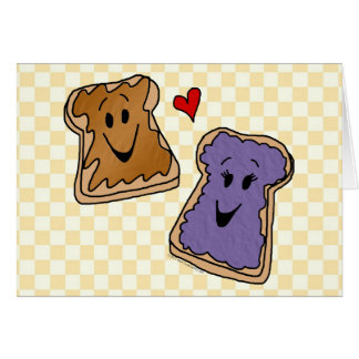 Cheerful Peanut Butter and Jelly Cartoon Friends Card