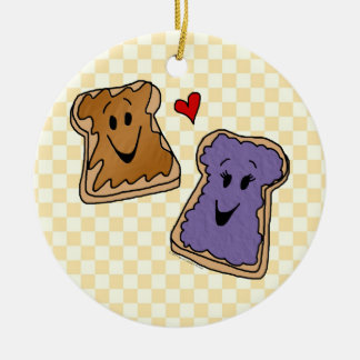 Cheerful Peanut Butter and Jelly Cartoon Friends Ceramic Ornament