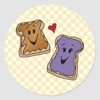 Cheerful Peanut Butter and Jelly Cartoon Friends Classic Round Sticker