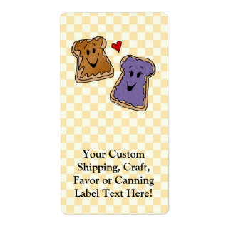 Cheerful Peanut Butter and Jelly Cartoon Friends Shipping Label