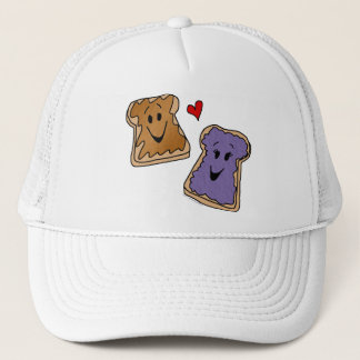 Cheerful Peanut Butter and Jelly Cartoon Friends Trucker Hat
