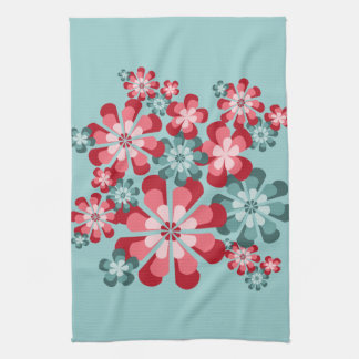 Cheerful Pink and Teal Mod Flowers Dish Towel