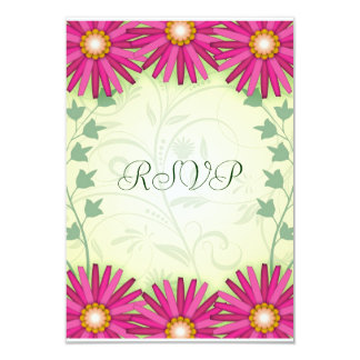 Cheerful Pink Flowers Wedding Reply RSVP Notes 3.5x5 Paper Invitation Card