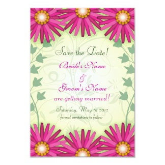 Cheerful Pink Flowers Wedding Save the Date Cards