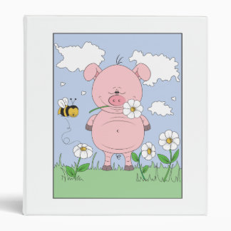 Cheerful Pink Pig Cartoon 3 Ring Binder
