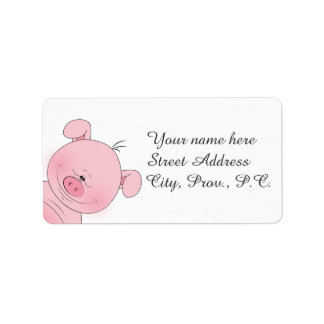 Cheerful Pink Pig Cartoon Address Label
