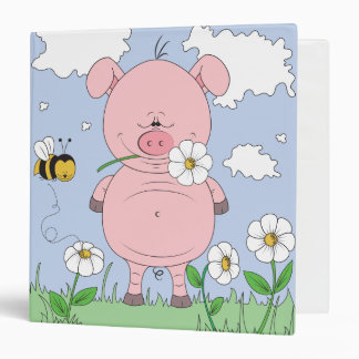 Cheerful Pink Pig Cartoon Binder