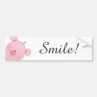 Cheerful Pink Pig Cartoon Bumper Sticker