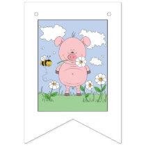 Cheerful Pink Pig Cartoon Bunting Flags