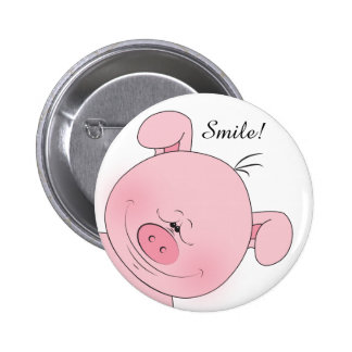 Cheerful Pink Pig Cartoon Button