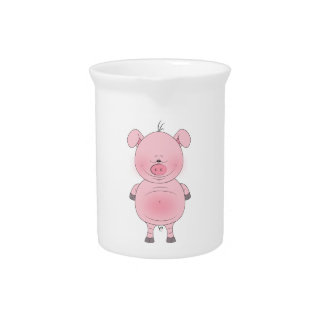 Cheerful Pink Pig Cartoon Drink Pitcher