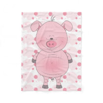 Cheerful Pink Pig Cartoon Fleece Blanket