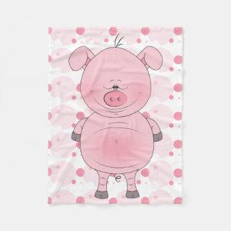 Cheerful Pink Pig Cartoon Fleece Blanket