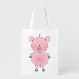 Cheerful Pink Pig Cartoon Grocery Bag