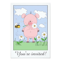 Cheerful Pink Pig Cartoon Invitation