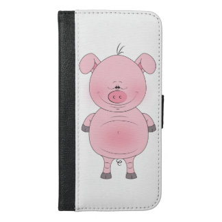 Cheerful Pink Pig Cartoon iPhone 6/6s Plus Wallet Case