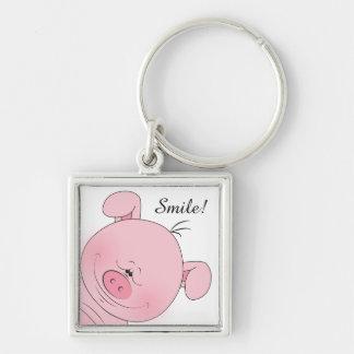 Cheerful Pink Pig Cartoon Keychain