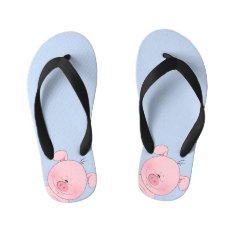 Cheerful Pink Pig Cartoon Kid's Flip Flops at Zazzle