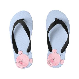 Cheerful Pink Pig Cartoon Kid's Flip Flops