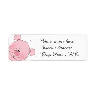 Cheerful Pink Pig Cartoon Label