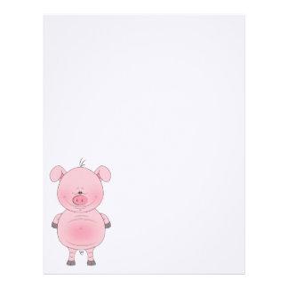 Cheerful Pink Pig Cartoon Letterhead