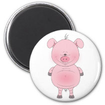 Cheerful Pink Pig Cartoon Magnet