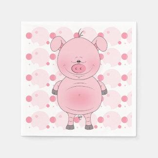 Cheerful Pink Pig Cartoon Napkin