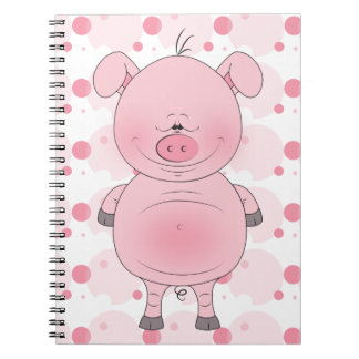 Cheerful Pink Pig Cartoon Notebook