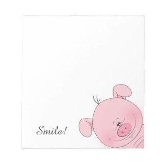 Cheerful Pink Pig Cartoon Notepad