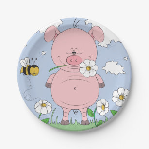 Cheerful Pink Pig Cartoon Paper Plate  sc 1 st  Zazzle & Pig Plates | Zazzle
