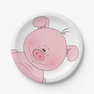 Cheerful Pink Pig Cartoon Paper Plate