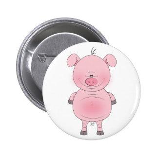 Cheerful Pink Pig Cartoon Pinback Button