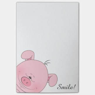Cheerful Pink Pig Cartoon Post-it Notes