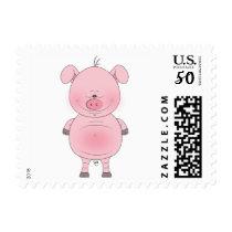 Cheerful Pink Pig Cartoon Postage