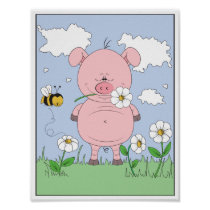 Cheerful Pink Pig Cartoon Poster