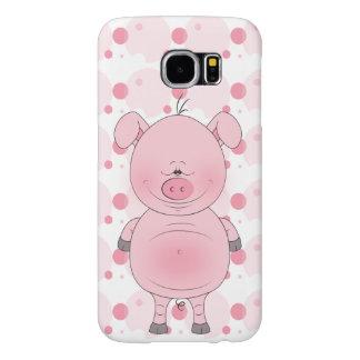Cheerful Pink Pig Cartoon Samsung Galaxy S6 Case