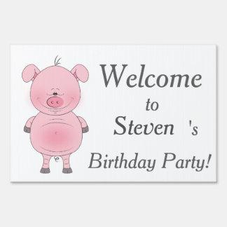 Cheerful Pink Pig Cartoon Sign