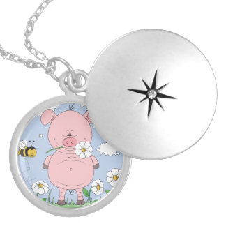 Cheerful Pink Pig Cartoon Silver Plated Necklace