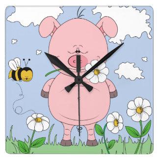 Cheerful Pink Pig Cartoon Square Wall Clock